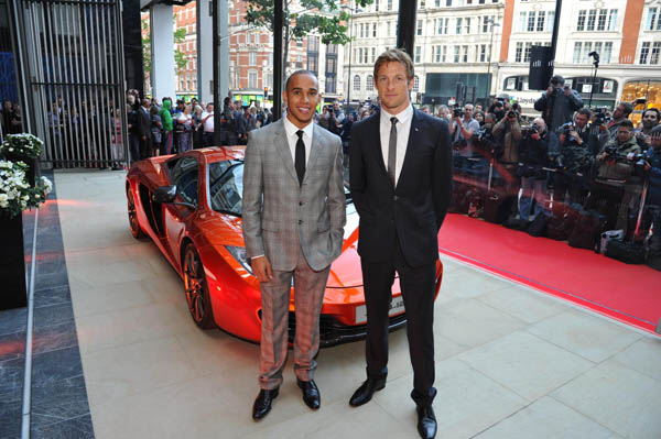 Formula 1 drivers Lewis Hamilton and Jenson Button open McLaren showroom in London